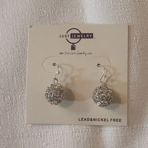 Just Jewelry Party Ball Silver Toned Earrings